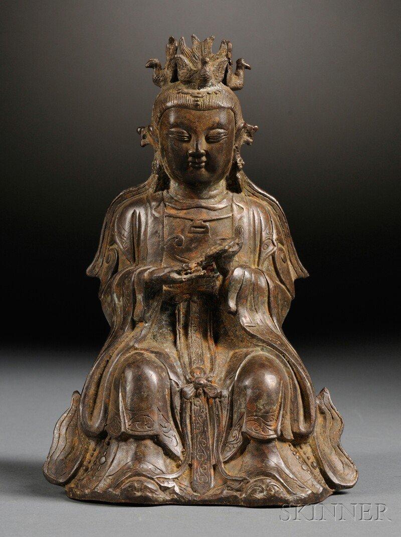 Bronze Kuan Yin, China, Ming dynasty (1368-1644), seate