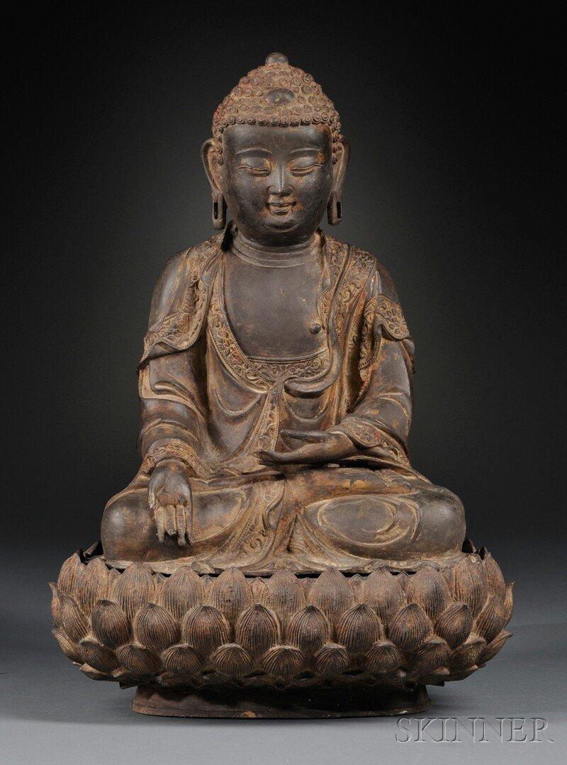 Bronze Seated Buddha, China, 17th/18th century, depicti