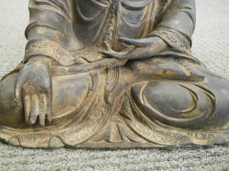 Bronze Seated Buddha, China, 17th/18th century, depicti - 5