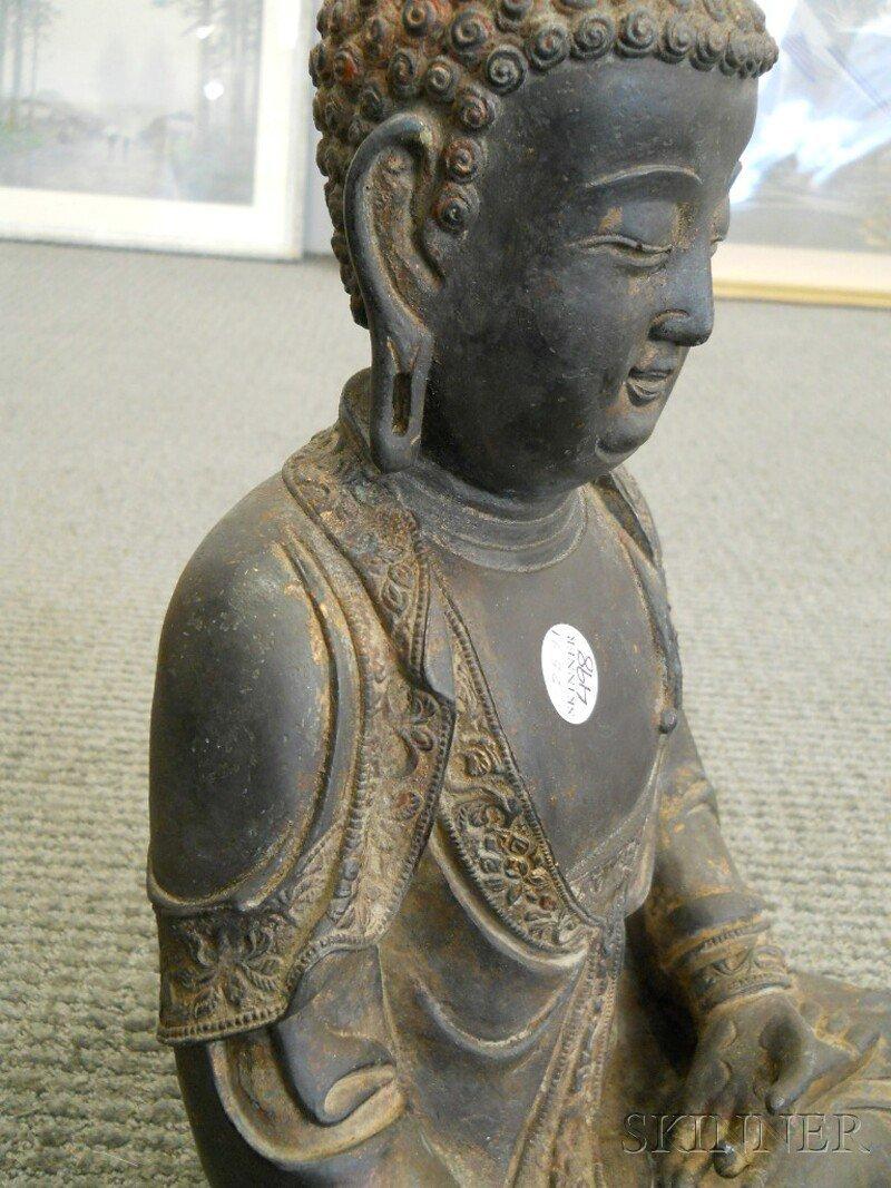 Bronze Seated Buddha, China, 17th/18th century, depicti - 6