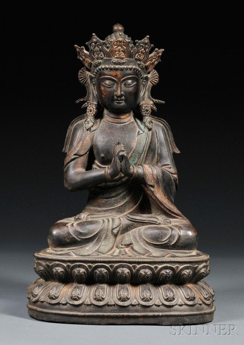 Bronze Figure of Buddha, Sino-Tibetan, wearing a loose-