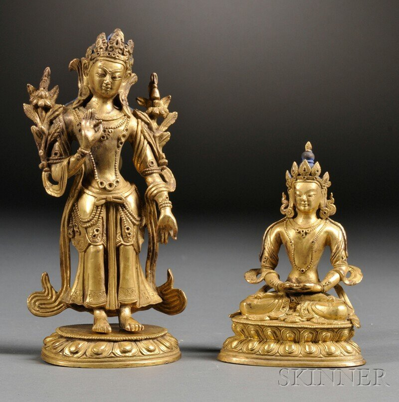 Two Gilt-bronze Figures, Sino-Tibetan, one seated in dh
