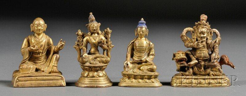 Four Small Gilt-bronze Figures, Sino-Tibetan, two figur