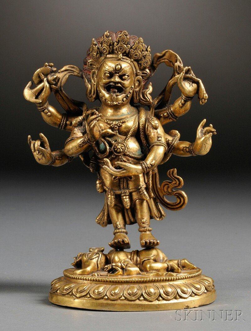 Gilt-bronze Buddhist Image, Sino-Tibetan, six-armed tan