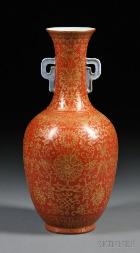 Coral Red And Gilt Buddhist Vase, China, 19th Century,