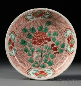 Red And Green Enamel Plate, China, 19th Century, Depict