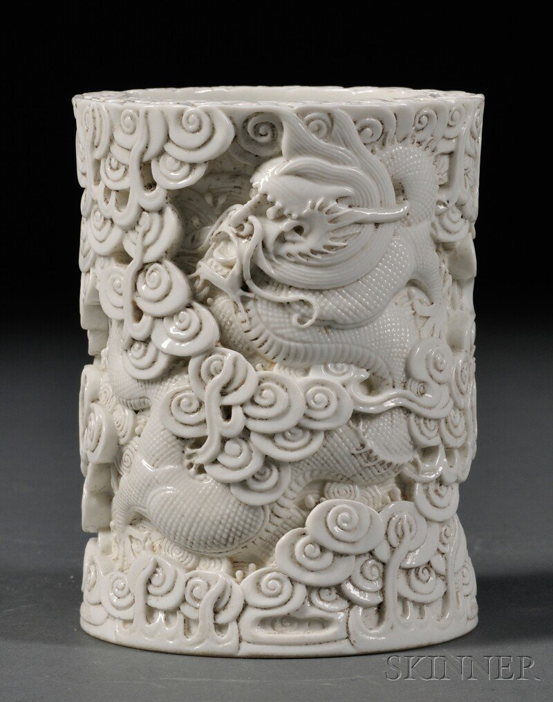 White Porcelain Brush Pot, China, 19th/20th century, cy