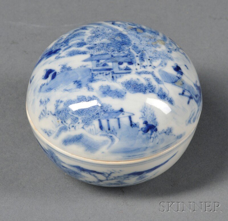 Blue and White Seal Paste Box, China, 18th/19th century