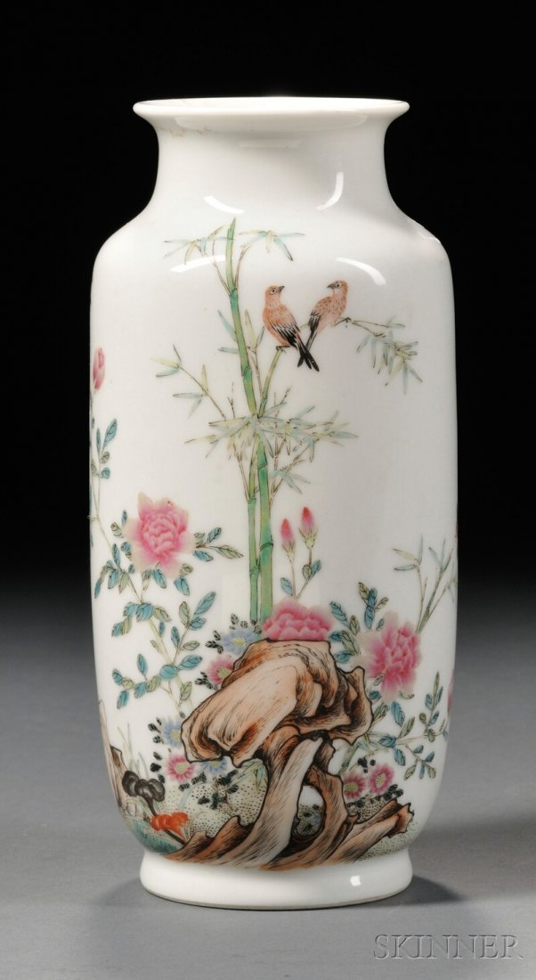 Famille Rose Vase, China, 20th century, cylindrical, de