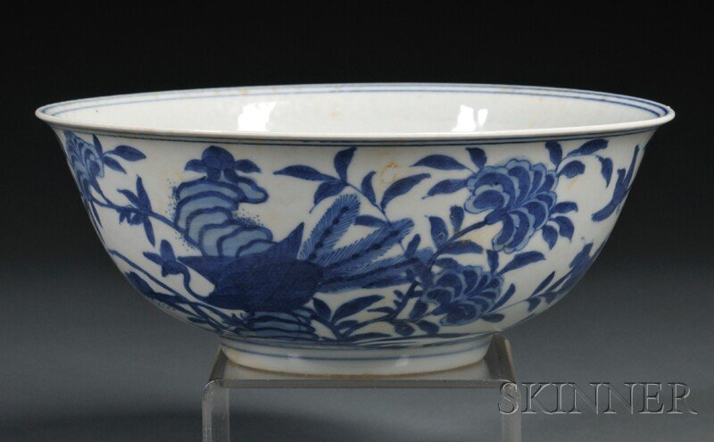 Blue and White Bowl, China, 19th/20th century, round wi