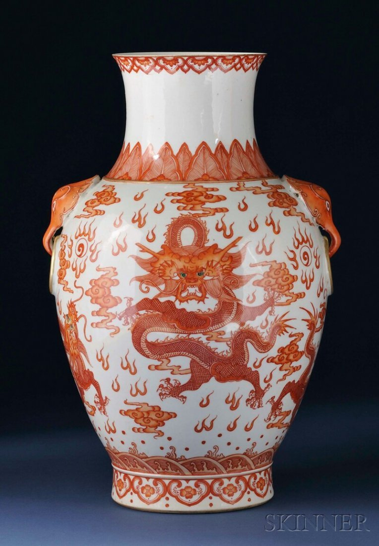 Red Dragon Vase, China, 19th century, baluster shape, d