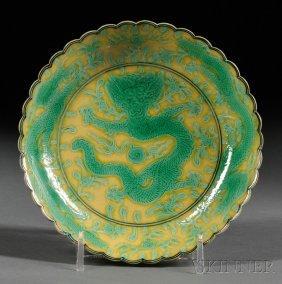 Dragon Dish, China, Late 19th Century, Foliated Rim, Gr