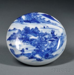 Blue And White Seal Paste Box, China, 18th Century, Fla
