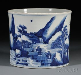 Blue And White Brush Pot With Stand, China, 18th Centur