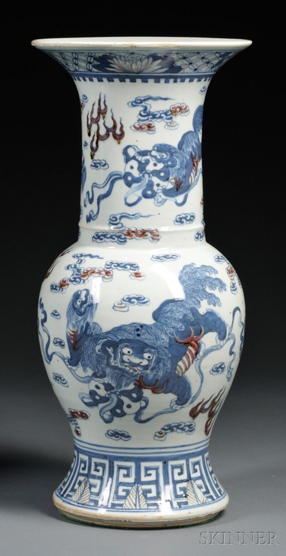 Blue and Iron Red Vase, China, 20th century, baluster s