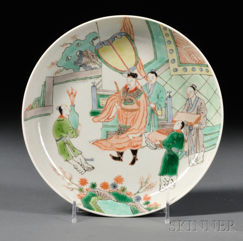 Famille Verte Plate, China, 19th/20th century, shallow