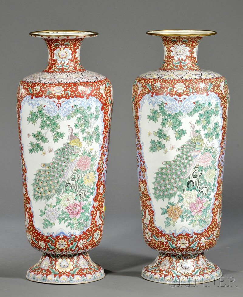 Pair of Large Canton Enamel Palace Vases, China, late 1