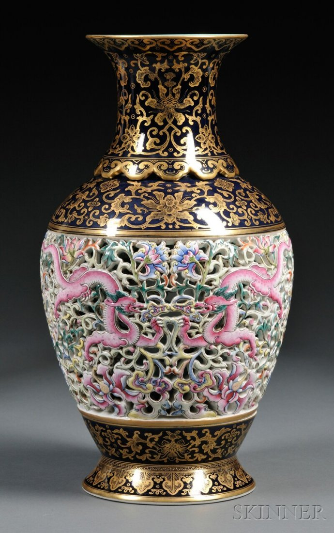 Revolving Reticulated Vase, China, 20th century, balust