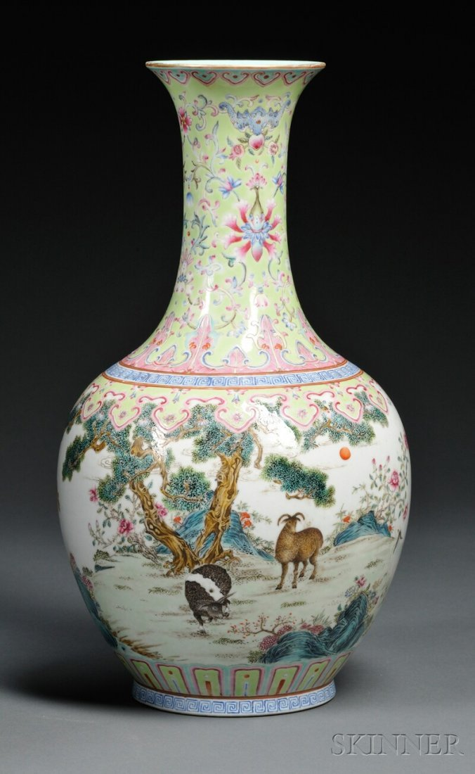 Famille Rose Vase, China, 19th/20th century, baluster s