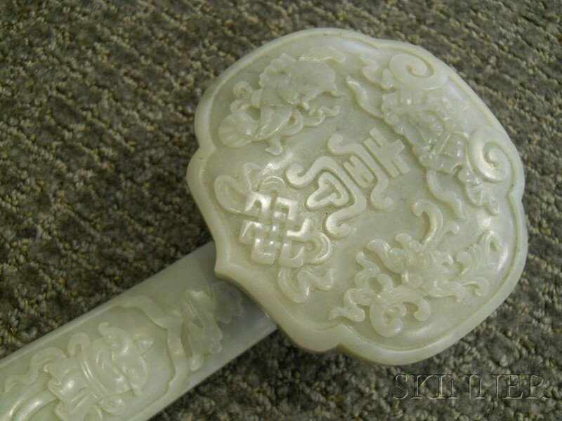 Jade Ruyi Scepter, China, the head terminal carved in r - 2