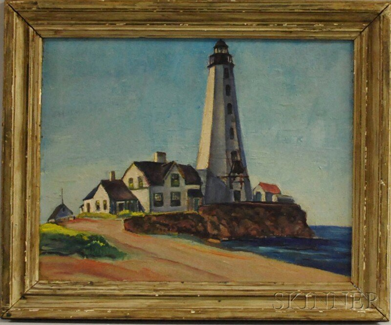 4: Marion Huse (American, 1896-1967) Lighthouse. Signed