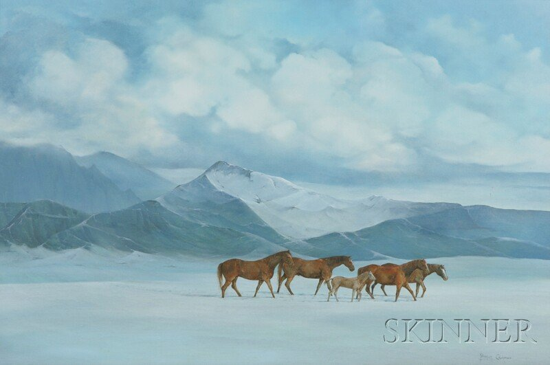 6: American School, 20th Century Horses in a Winter Mou