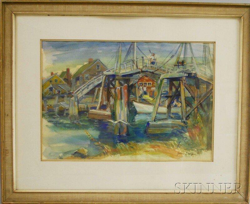 9: John Shayn (American, 1901-1977) Man on Bridge, Ogun