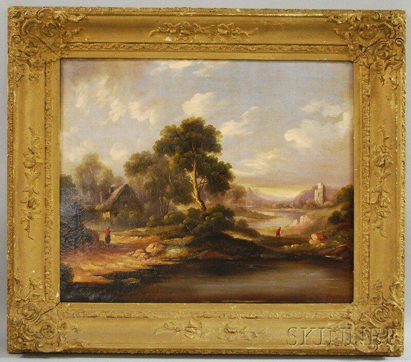 14: British School, 19th Century Cottage in Landscape,