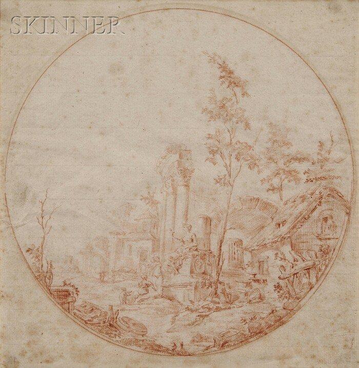 16: Manner of Hubert Robert (French, 1733-1808) Landsca