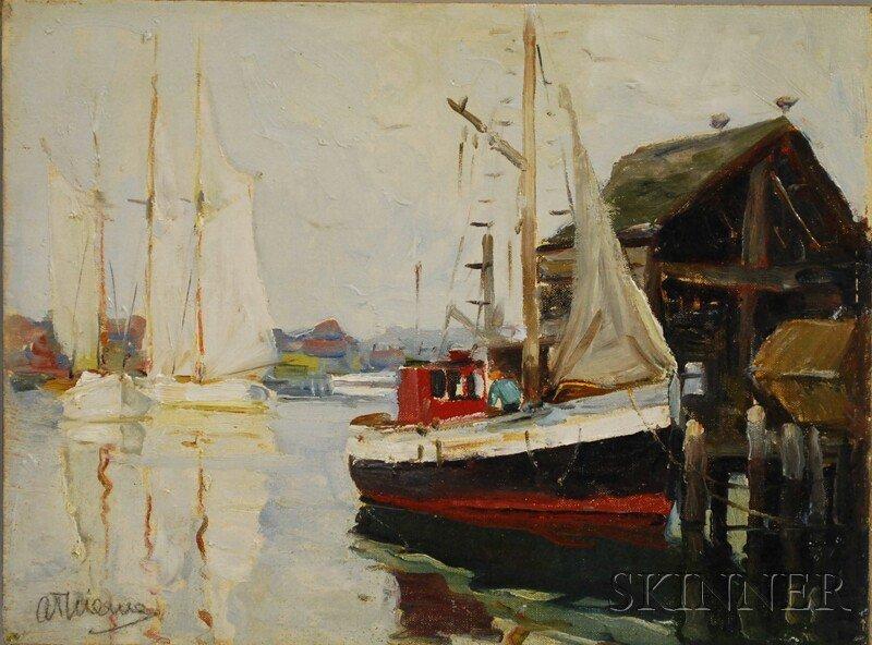 20: Anthony Thieme (American, 1888-1954) Moored Schoone