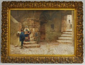 Scipione Simoni (Italian, 1882-1960) Village Scene