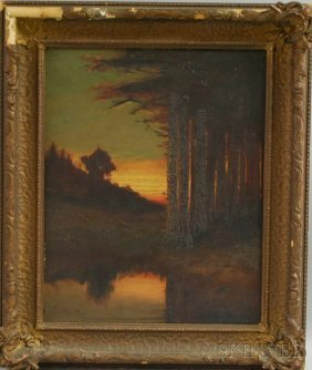 William D. Wood (American, D. 1915) Dusk, Along The
