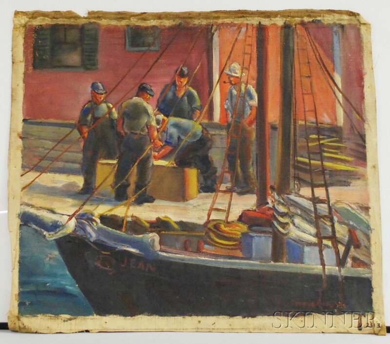 116: Marion Huse (American, 1896-1967) Fishermen on a W