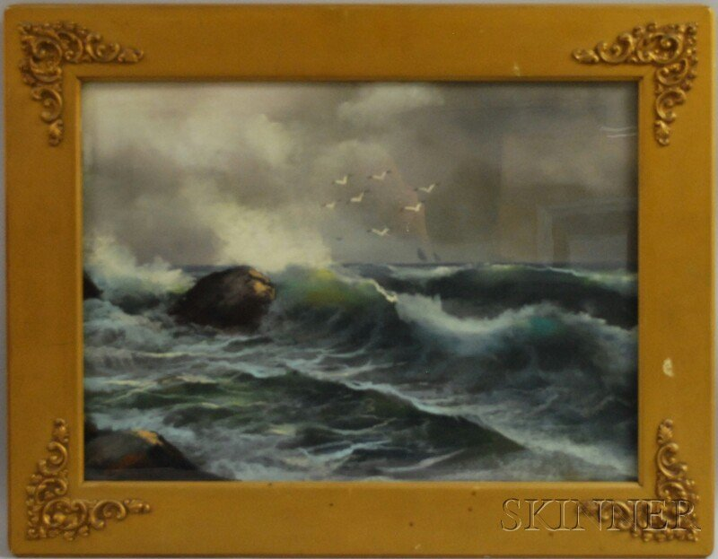 146: American School, 19th Century Crashing Surf. Unsig