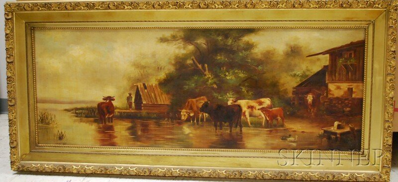 170: British School, 19th Century Cows Watering Beside