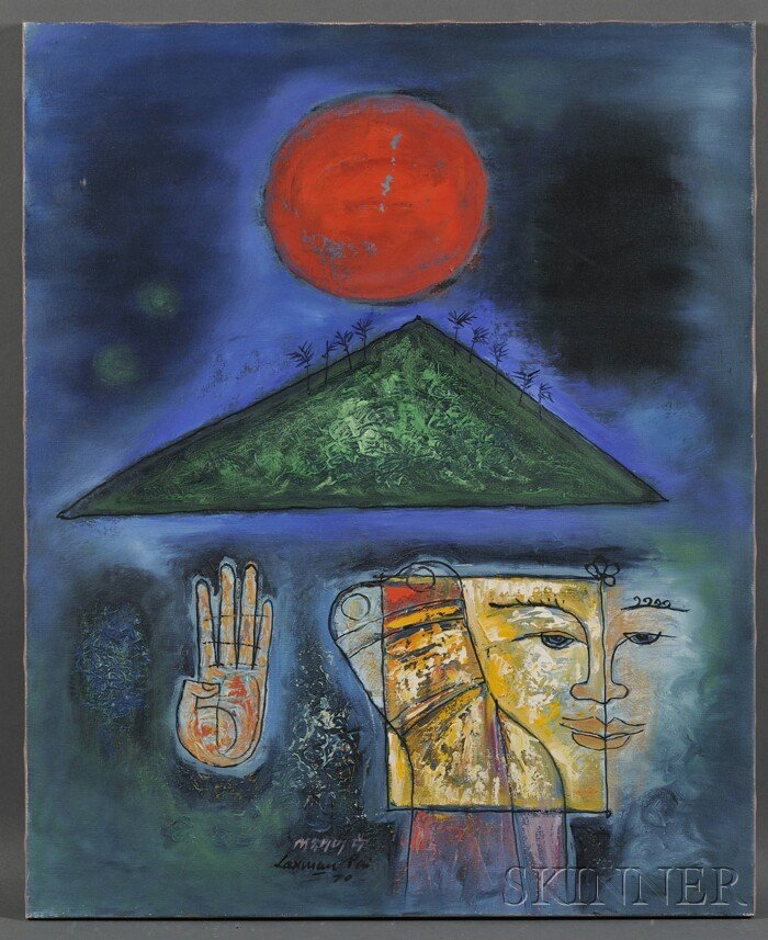 605: Laxman Pai (Indian, b. 1926) Mudraa. Signed and da