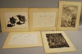 George Biddle (American, 1885-1973) Five Prints.