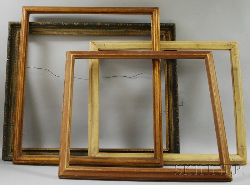 621: Four Assorted Wooden Frames, a painted carved wood