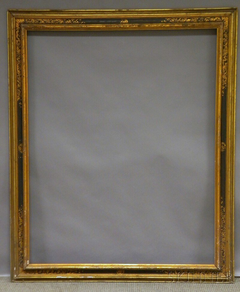 623: Arts & Crafts Gilt and Painted Frame, with labels