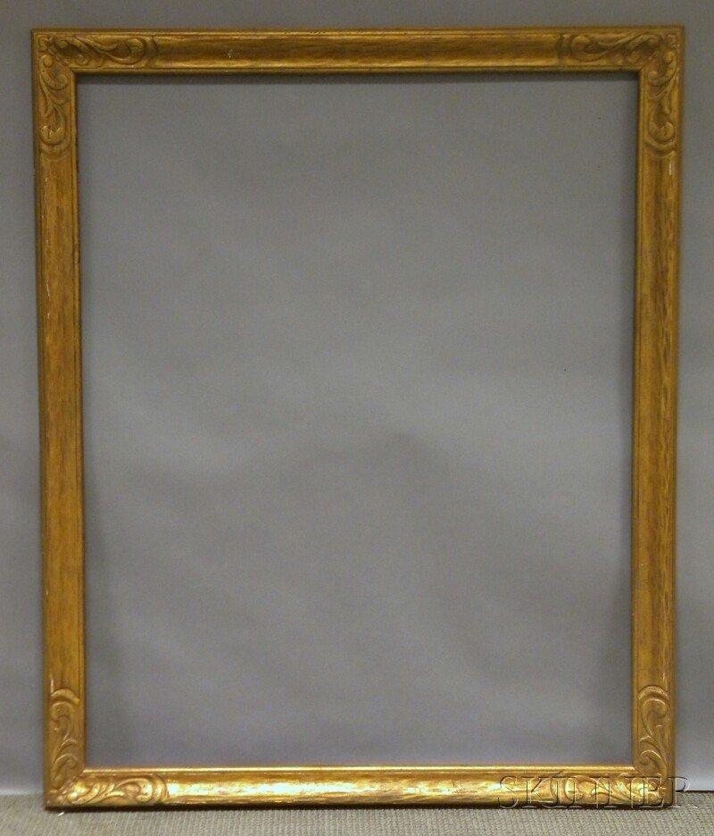 624: Arts & Crafts Gilt Carved Frame, rabbet 50 1/4 x 4
