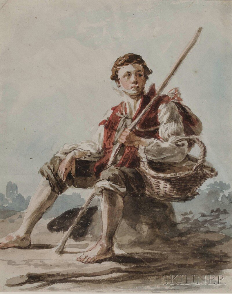 634: Two 19th Century Works on Paper: Peasant Boy and H