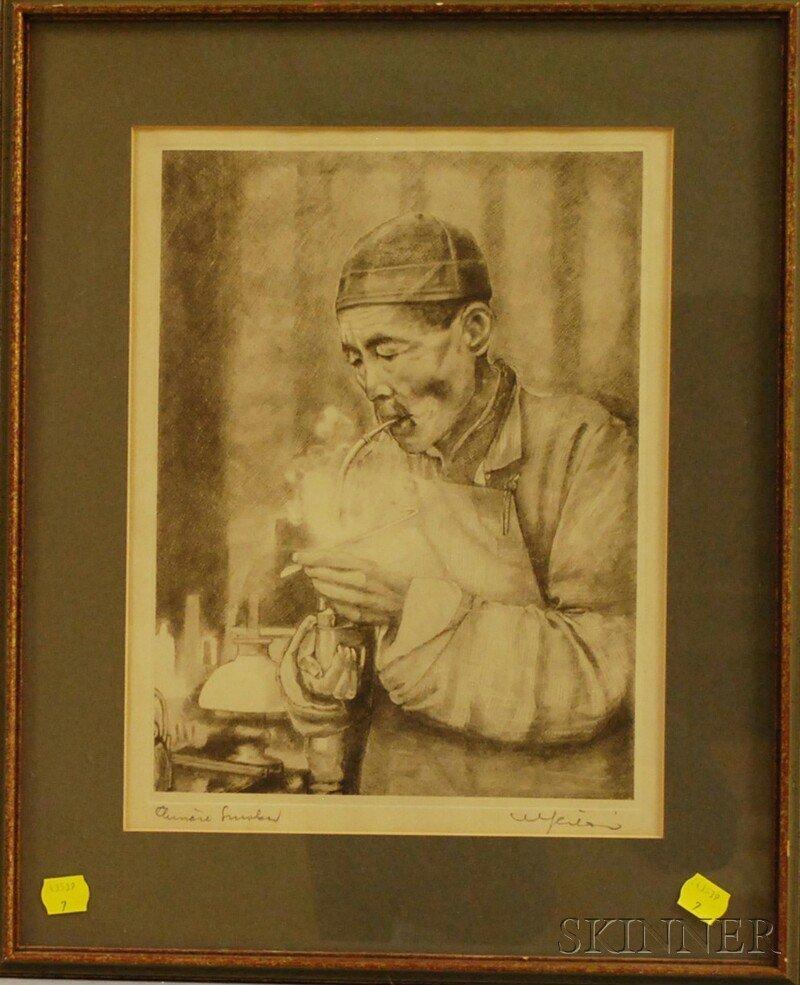 642: Willy Seiler (American, b. 1903) Chinese Smoker. S