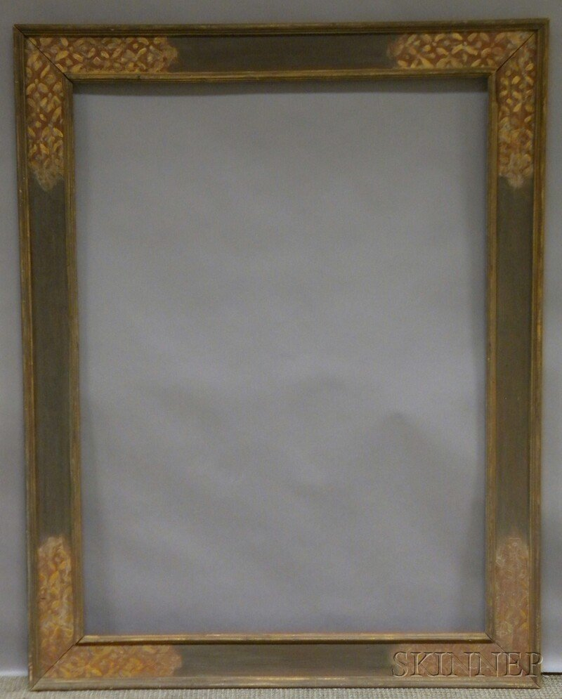 645: Arts & Crafts Carved and Painted Frame, rabbet 46