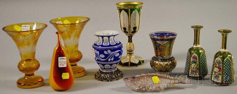 896: Nine Assorted Art Glass Items, a pair of Bohemian