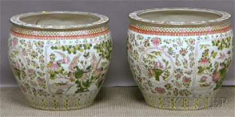 1071 Pair of Modern Chinese Export Porcelain Famille R