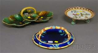 1233 Three Wedgwood Majolica Table Items a fourpart