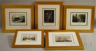 1240 Five Framed Handcolored Historical Engravings