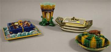1250: Four Wedgwood Majolica Items, a vase, covered but