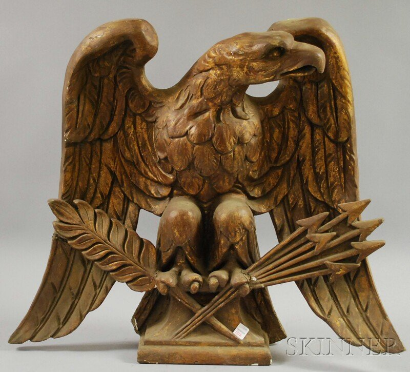 1316: Gilt Plaster American Eagle with Pen and Arrows F