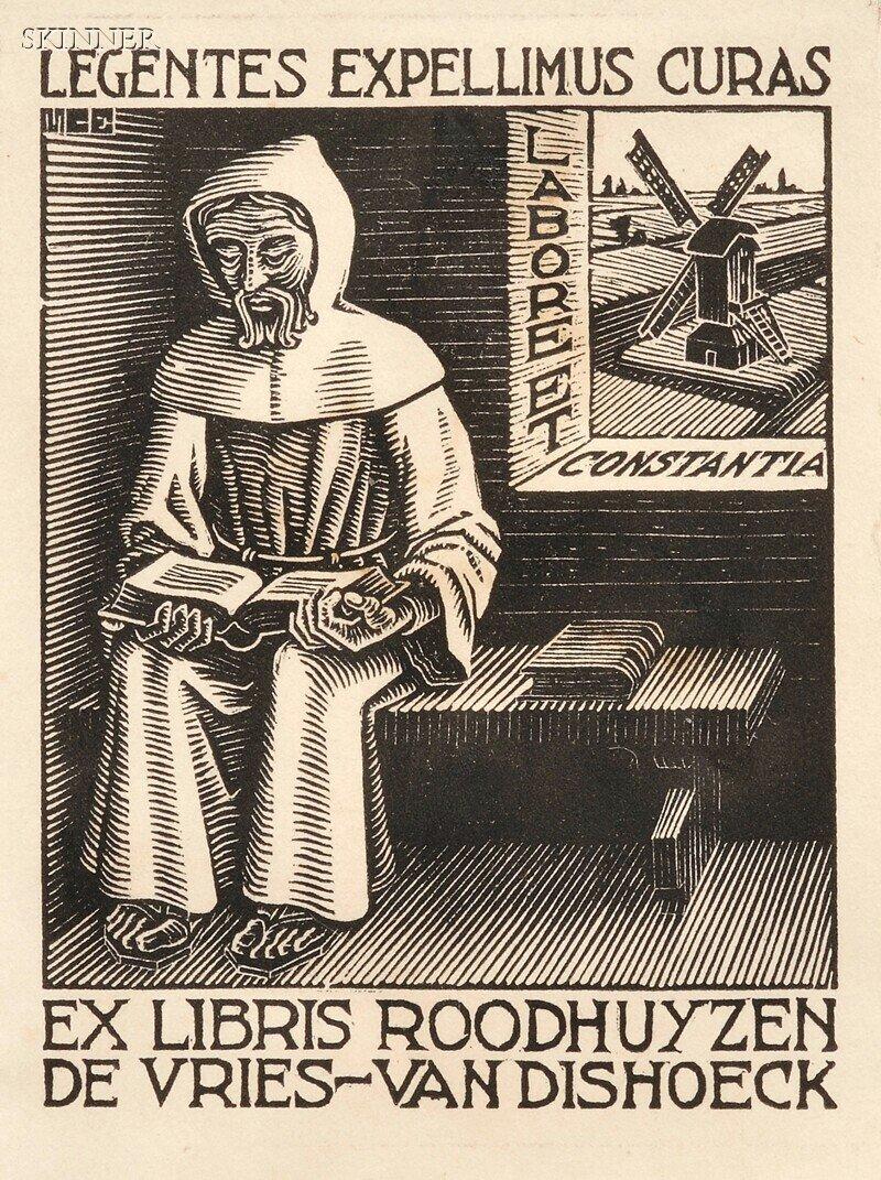 42: M. C. Escher (Dutch, 1898-1972) Three Bookplates: B